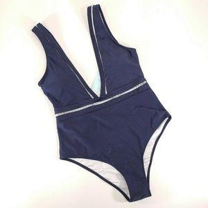 Cupshe Women's One Piece Navy Blue Swimsuit - Sz S